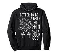 Vikings Wolf Rune Circle Wolf Of Odin Norse Mythology T-shirt Hoodie Black