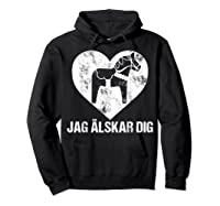 Scandinavian Valentine's Day Dala Horse Jag Alskar Dig Shirts Hoodie Black