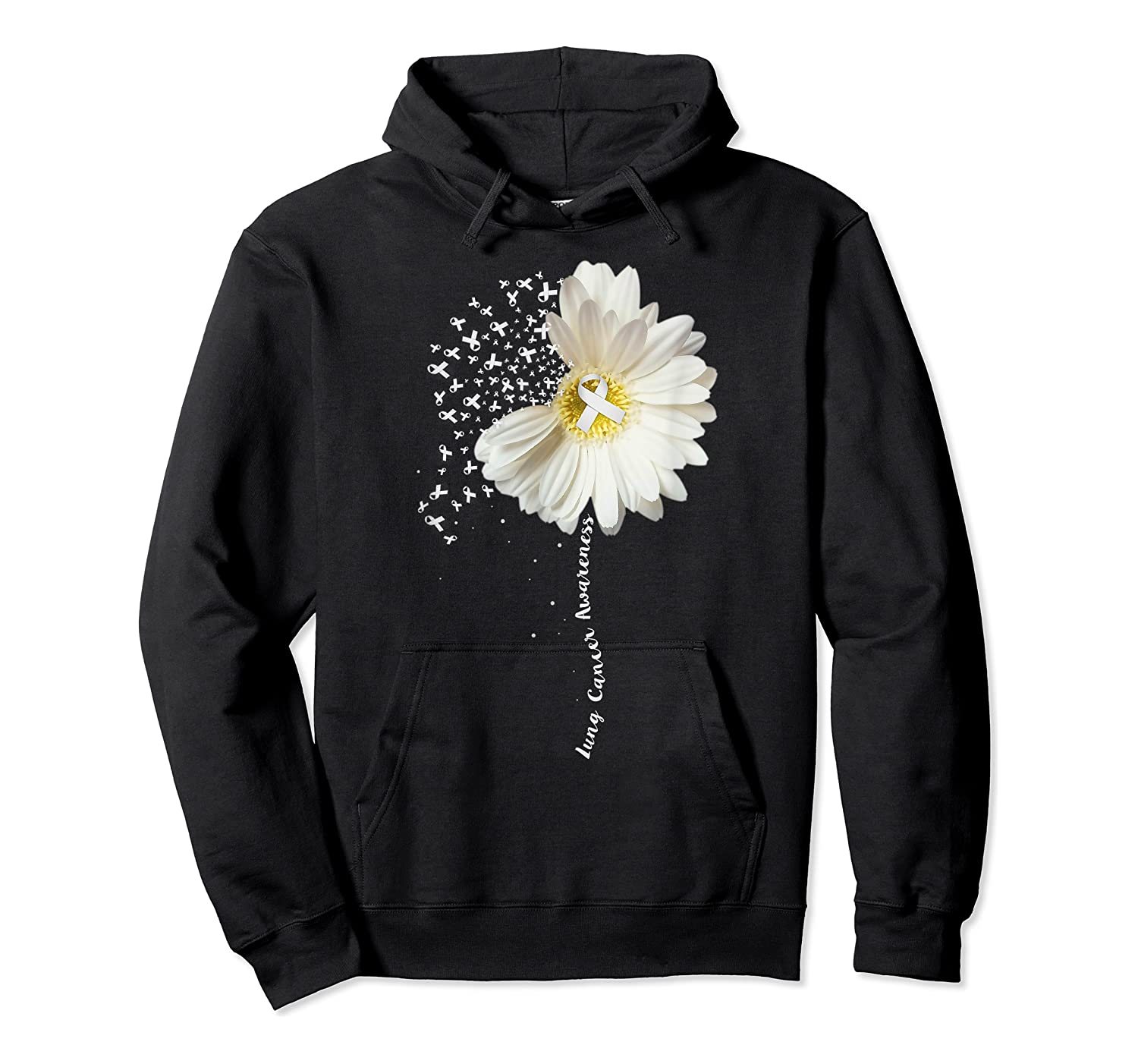 Lung Cancer Awareness Sunflower Ribbon Gift Shirts Unisex Pullover Hoodie