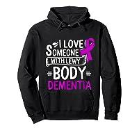 Lewy Body Detia Awareness Purple Ribbon Brain Disease T-shirt Hoodie Black