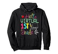 Funny Hello Virtual 1st Grade Gift Back To School 2020 Shirts Hoodie Black