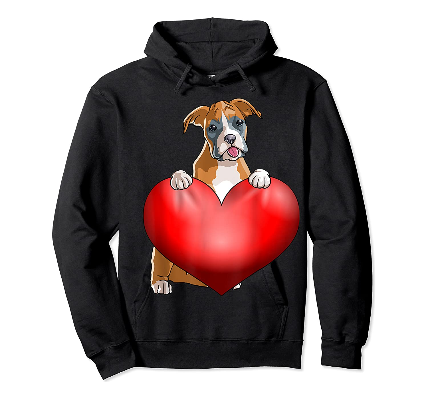 Valentines Day Dog Boxer Heart Gift Girl Shirts Unisex Pullover Hoodie