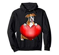 Valentines Day Dog Boxer Heart Gift Girl Shirts Hoodie Black