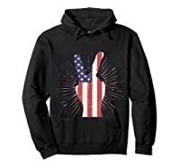 Peace American Flag Funny Gift 4th Of July Shirt Hoodie Black