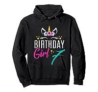 Birthday Girl 7 Year Old Gift Cute Unicorn Face 7th Bday T-shirt Hoodie Black