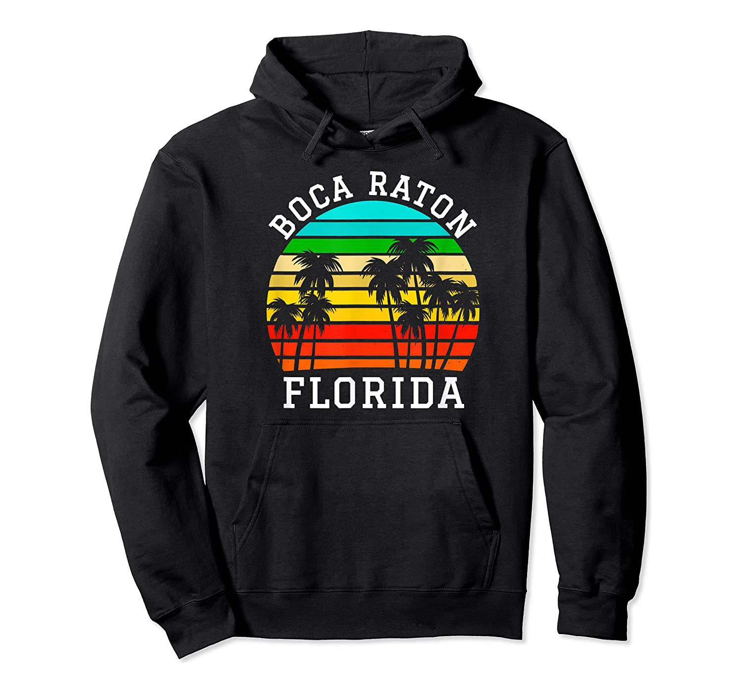 Boca Raton Florida Palm Trees Sunset Matching Vacation T-shirt Unisex Pullover Hoodie