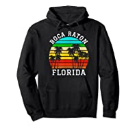 Boca Raton Florida Palm Trees Sunset Matching Vacation T-shirt Hoodie Black