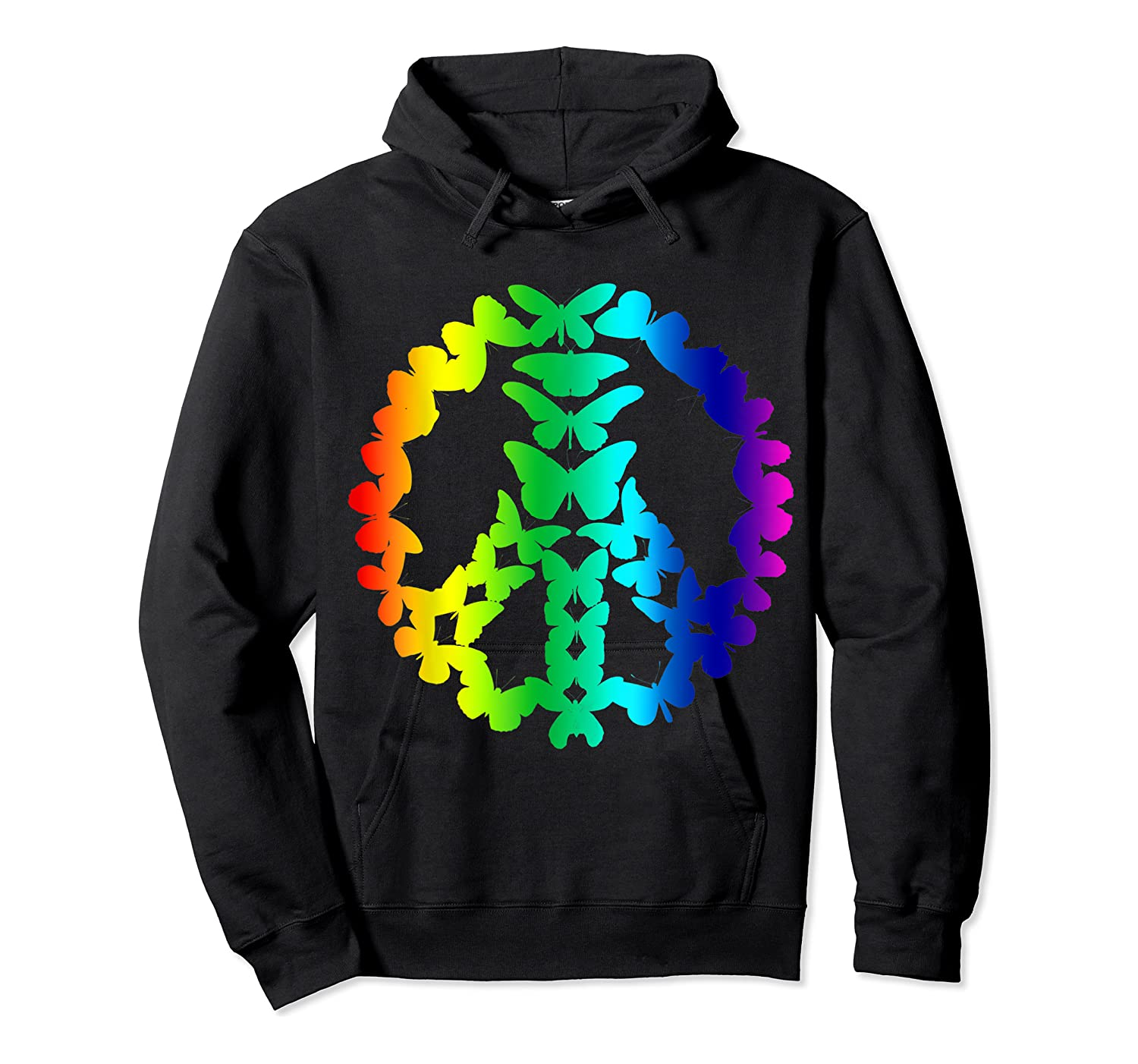 Butterflies Peace Sign Love Butterfly 60s Retro Hippie Gift T-shirt Unisex Pullover Hoodie