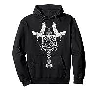 Odins Ravens Huginn & Muninn Vegvisir Tshirt Mjolnir Valknut Hoodie Black