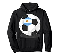 Argentinian Flag On Soccer Ball   Argentina Football Shirts Hoodie Black