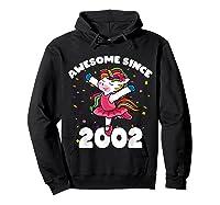 Awesome Since 2002 Ballerina Unicorn Birthday Rainbow Girls T-shirt Hoodie Black