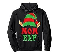 Christmas Mom Elf T Shirt Family Pajamas Xmas Mother Elves T-shirt Hoodie Black