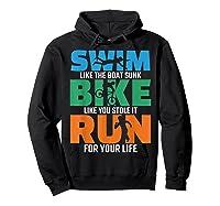 Swim Bike Run Triathlon Running Cycling Swimming Shirts Hoodie Black