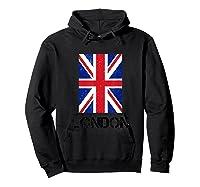 London, England Union Jack Shirts Hoodie Black