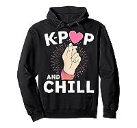 K Pop And Chill Finger Heart Korean Kpop Merchandise Shirts Hoodie Black