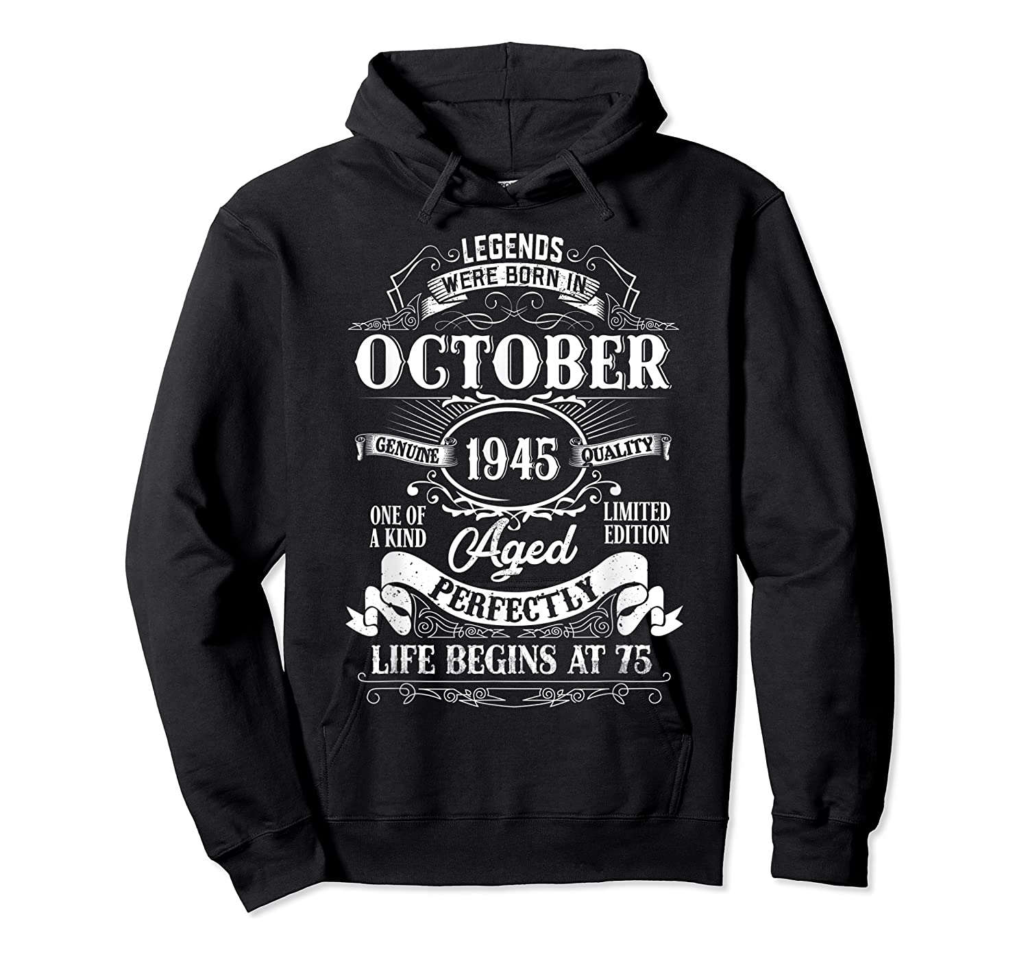 Vintage October 1945 75th Birthday Gifts For 75 Years Old Shirts Unisex Pullover Hoodie