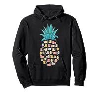 Summer Hawaii Pineapple Cat Kawaii Neko Aloha Hawaiian Shirts Hoodie Black