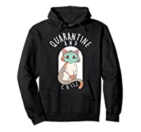 Quarantine And Chill Cat Face Mask T-shirt Hoodie Black