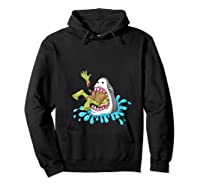 Shark Eats Zombie Funny Halloween Girls Shirts Hoodie Black