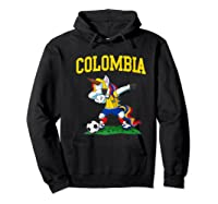 Dabbing Soccer Colombia Unicorn Colombian Football Shirts Hoodie Black