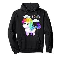 Unicorn Lgbt Gift Rainbow Gay & Lesbian Love Sweet Premium T-shirt Hoodie Black