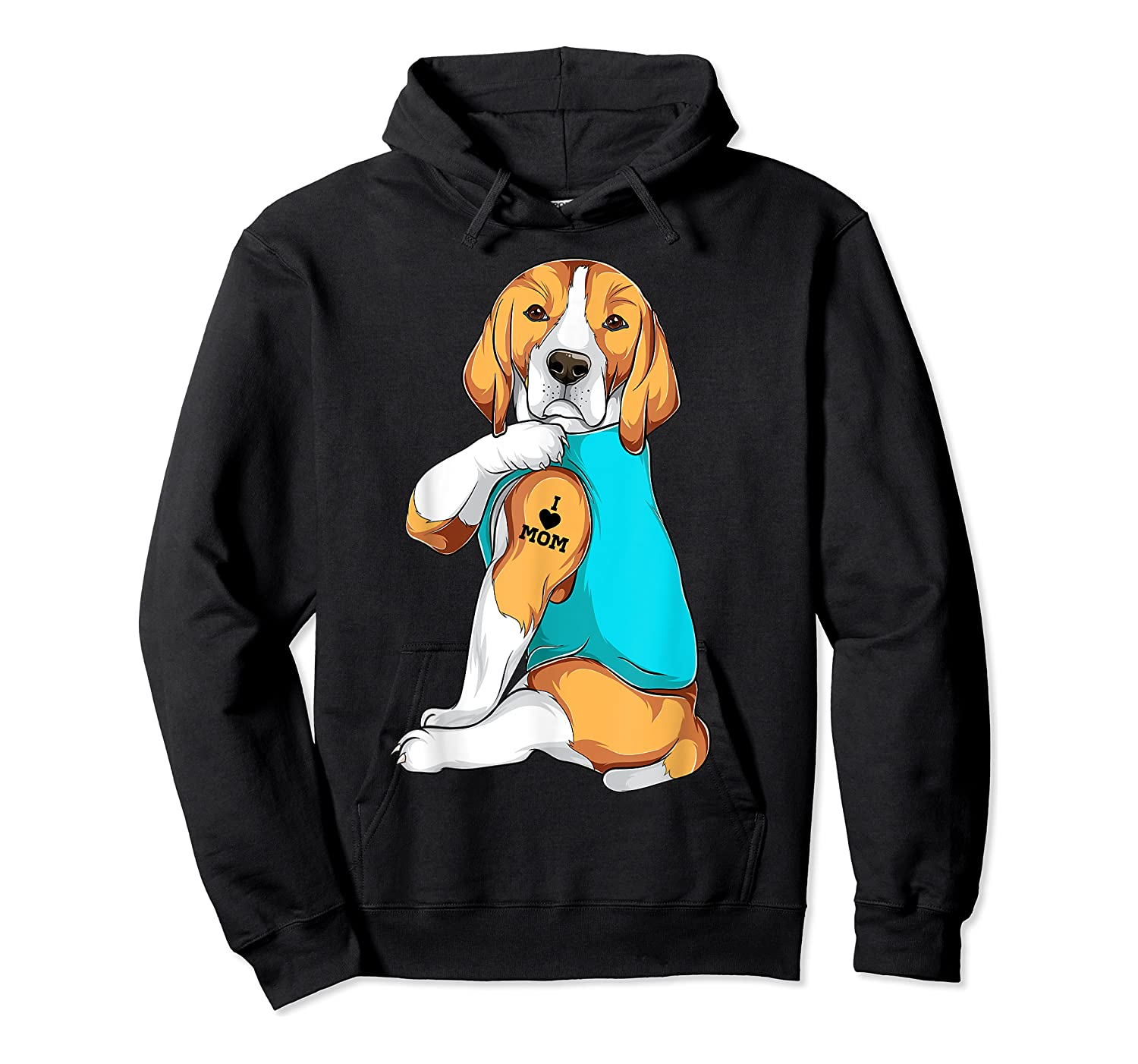 Beagle I Love Mom Apparel, Dog Mom Gifts Shirts Unisex Pullover Hoodie