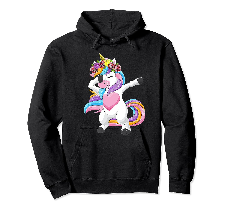 Dabbing Unicorn Shirt Flower Girl Dab Dance Horse Gift Premium T-shirt Unisex Pullover Hoodie