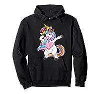 Dabbing Unicorn Shirt Flower Girl Dab Dance Horse Gift Premium T-shirt Hoodie Black