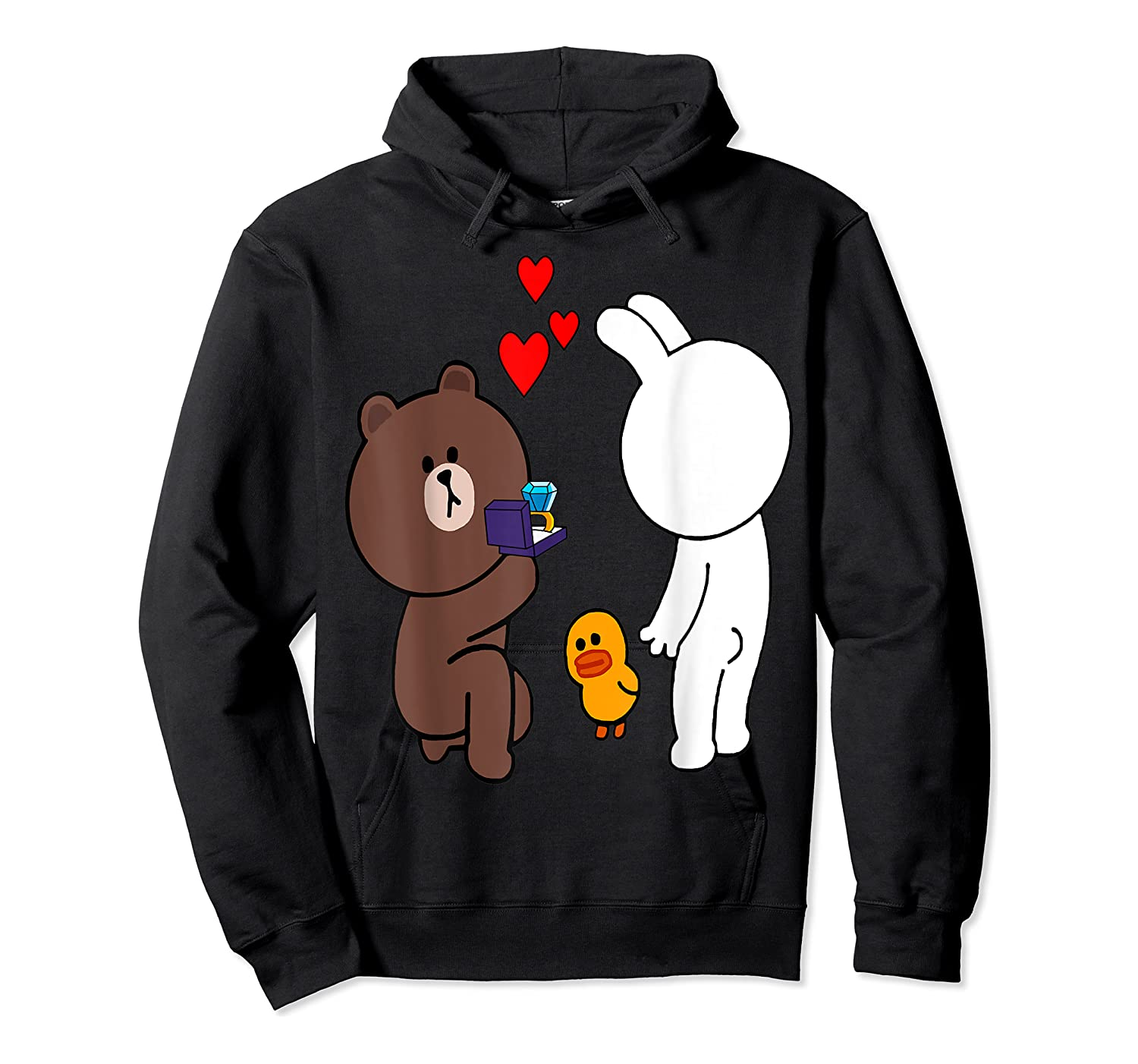 Brown Bear Cony Bunny Rabbit Engaget Ring Marriage Fiance Shirts Unisex Pullover Hoodie