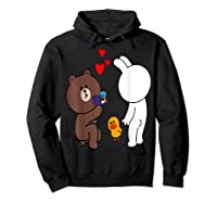 Brown Bear Cony Bunny Rabbit Engaget Ring Marriage Fiance Shirts Hoodie Black