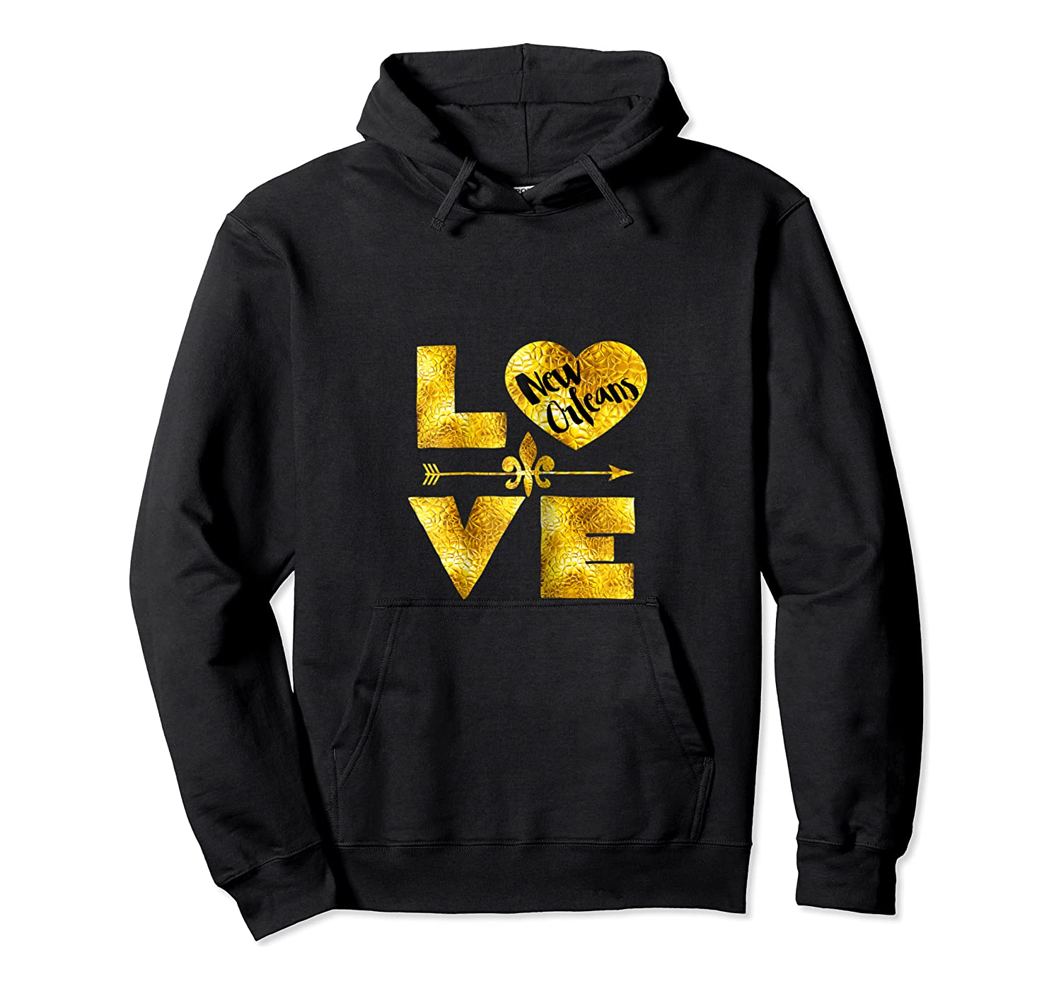 New Orleans For Love Nola Black And Gold Gift Shirts Unisex Pullover Hoodie