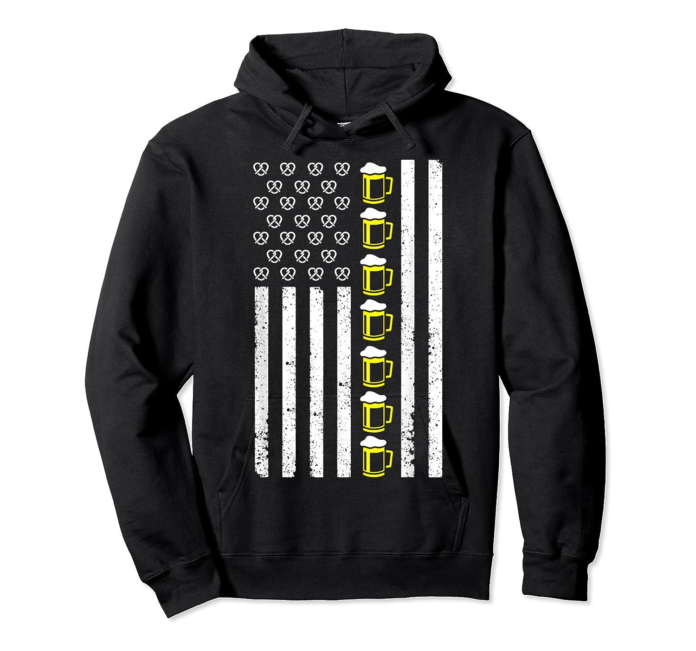 Funny Oktoberfes American Flag Beer Pretzel Shirts Unisex Pullover Hoodie