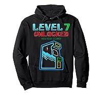 Level 7 Unlocked Birthday Gamer And Girls T-shirt Hoodie Black