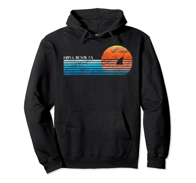 Vintage China Beach, Ca Retro 80s Shark Fin Sunset Shirts Unisex Pullover Hoodie