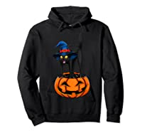 Witch Black Cat Funny Halloween Horror Scary Shirts Hoodie Black