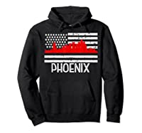 Phoenix Firefighter Red Line Skyline American Flag Hero Shirts Hoodie Black