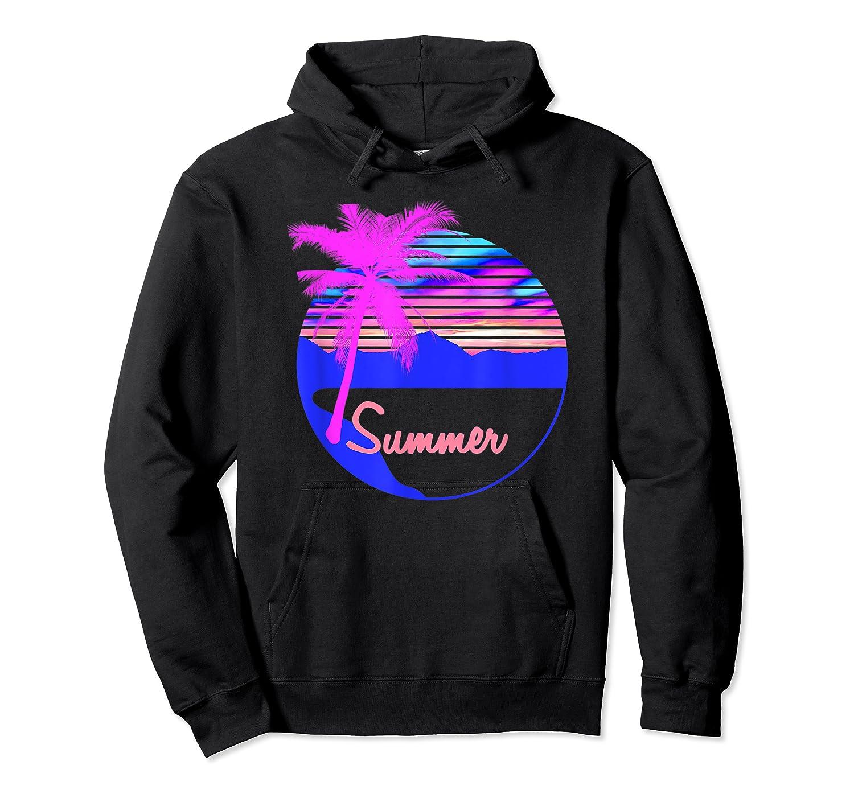 Vaporwave Aesthetic Summer Beach Sunset Palm T-shirt Unisex Pullover Hoodie