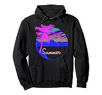 Vaporwave Aesthetic Summer Beach Sunset Palm T-shirt Hoodie Black