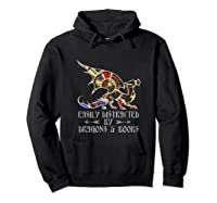 Easily Distracted By Dragons And Books Funny Dragon Shirts Hoodie Black