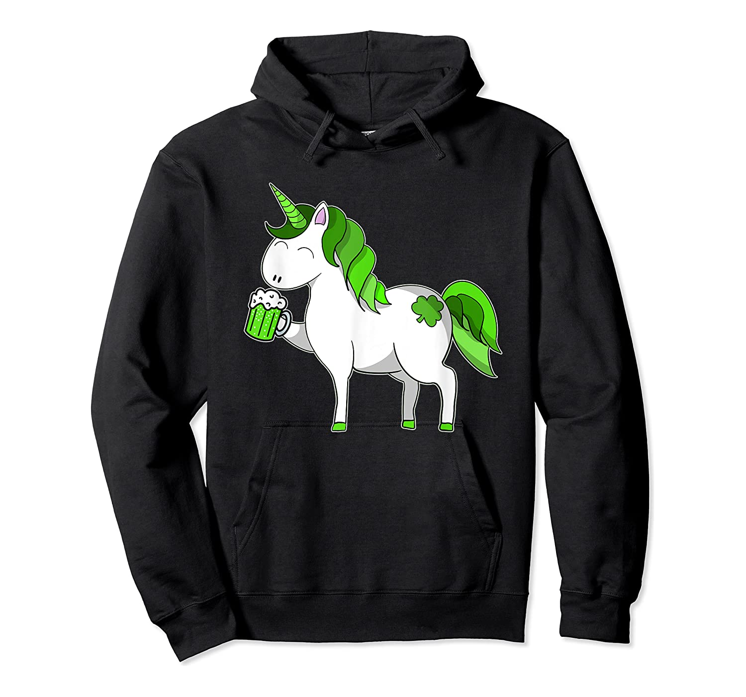 Lepricorn Unicorn St Patrick's Day With Green Clover Shirts Unisex Pullover Hoodie