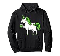 Lepricorn Unicorn St Patrick's Day With Green Clover Shirts Hoodie Black