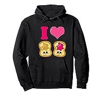 Cute I Heart Love Peanut Butter And Jelly Kawaii Shirts Hoodie Black