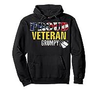 Proud Veteran Grumpy With American Flag Veteran Day Gift Shirts Hoodie Black