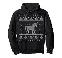 Unicorn Ugly Christmas Sweater, Funny Holiday Gift Shirts Hoodie Black