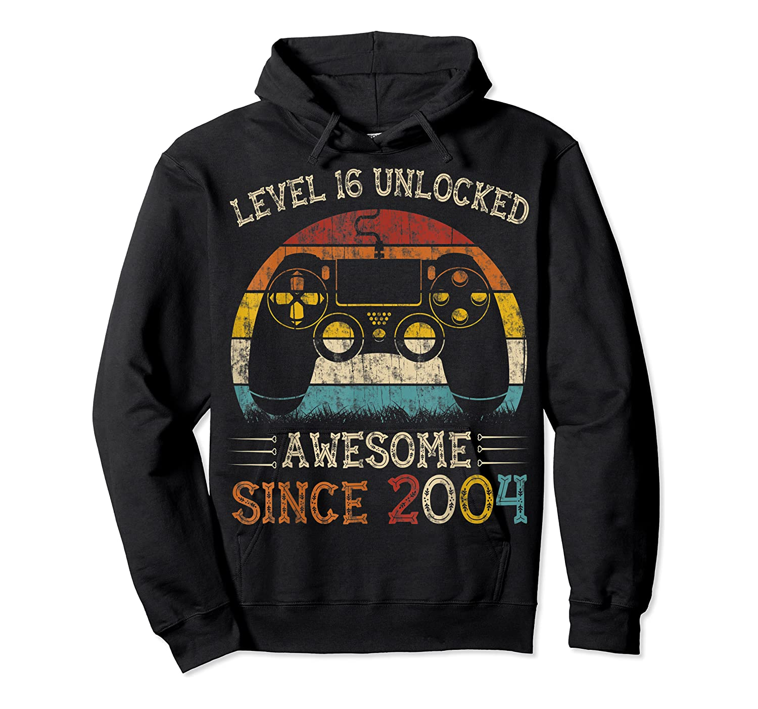 Vintage Video Level 16 Unlocked Gamers 16th Birthday Gifts Shirts Unisex Pullover Hoodie
