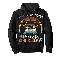 Vintage Video Level 16 Unlocked Gamers 16th Birthday Gifts Shirts Hoodie Black