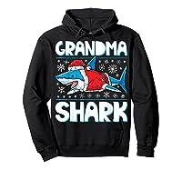 Grandma Shark Santa Christmas Family Matching S Shirts Hoodie Black