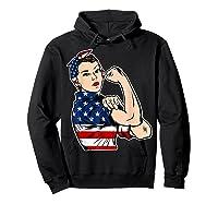 Rosie The Riveter Bandana Feminist Usa Flag 4th Of July T-shirt Hoodie Black