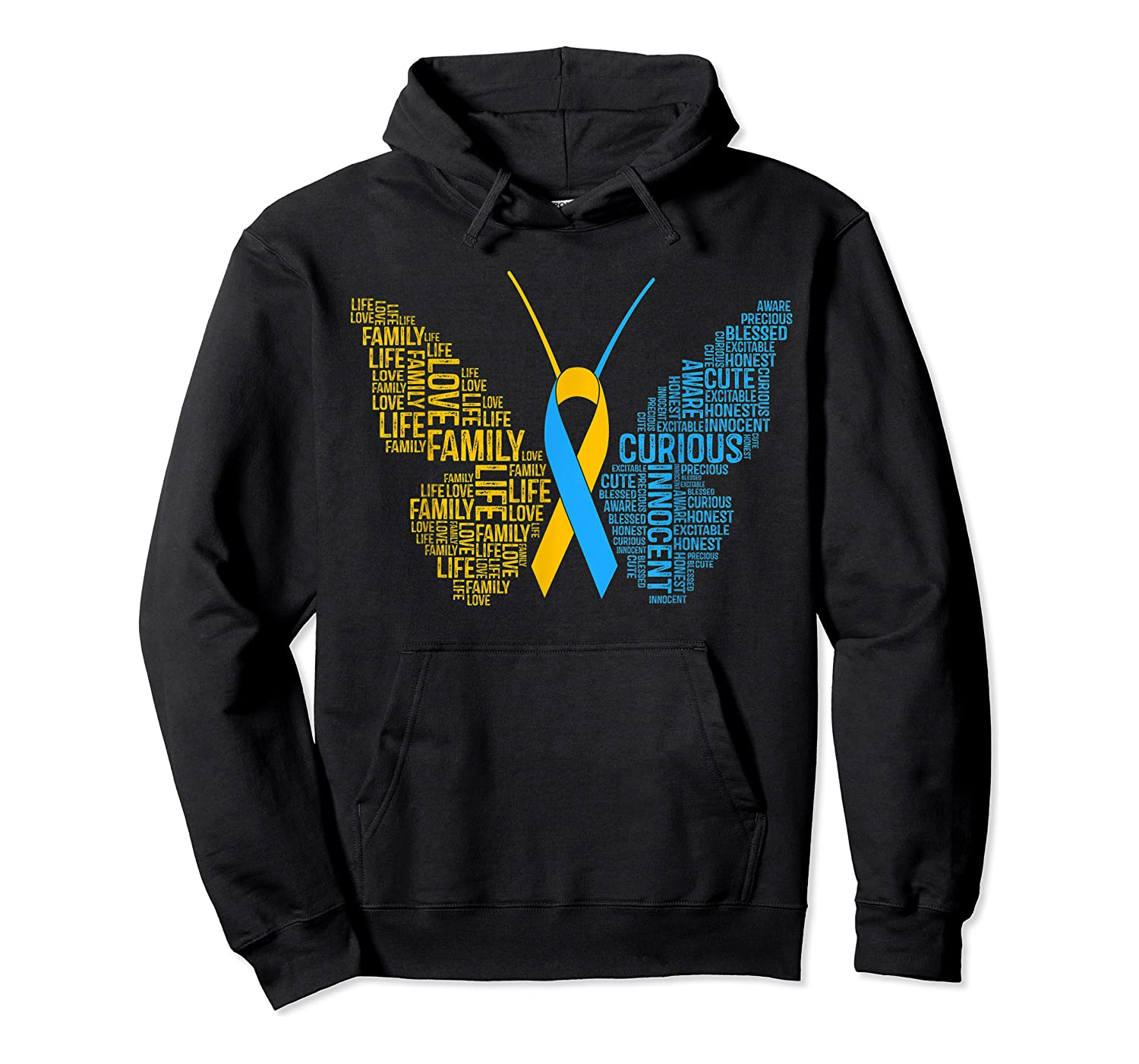 Down Syndrome Awareness Butterfly T-shirt Support Gift Shirt Unisex Pullover Hoodie
