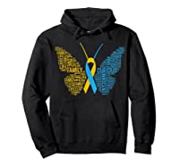 Down Syndrome Awareness Butterfly T-shirt Support Gift Shirt Hoodie Black